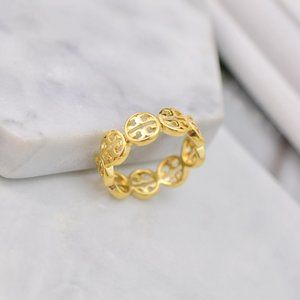Tory Burch Simple Glossy Hollow Logo Ring
